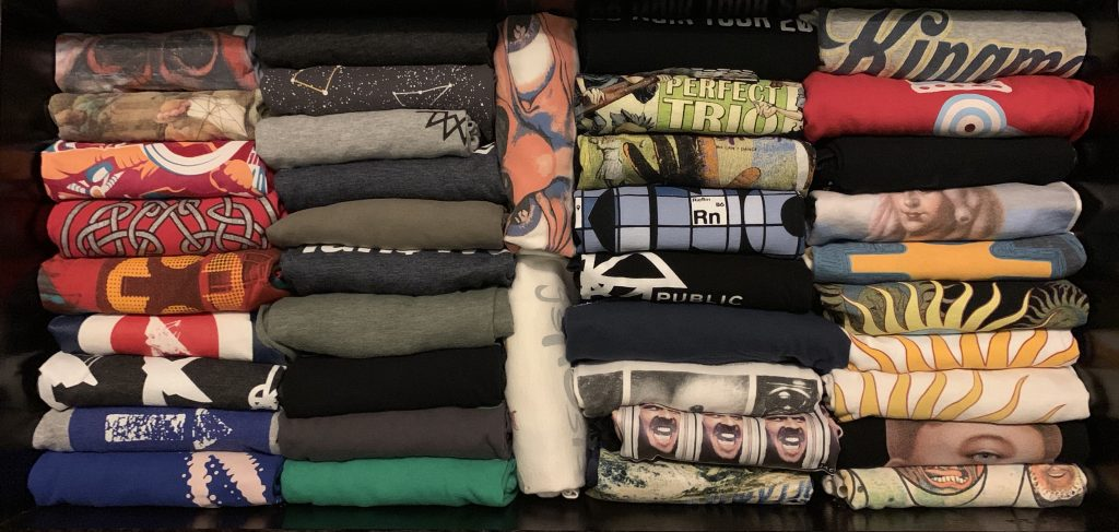 Folded T-shirts in a drawer